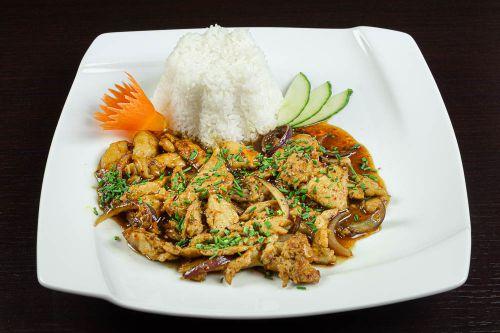 GA XAO SA OT - Hühnerfleisch mit Zitronengras und Chilischoten, Jasmin-Reis